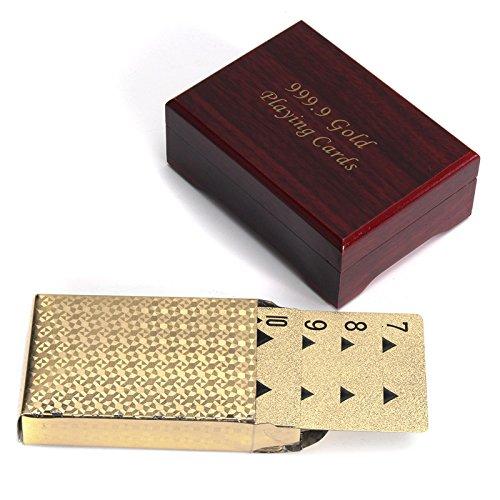KINGDUO Gold Überzogene Poker Spielkarten Mit Holzkiste Für Party Casino Weihnachten