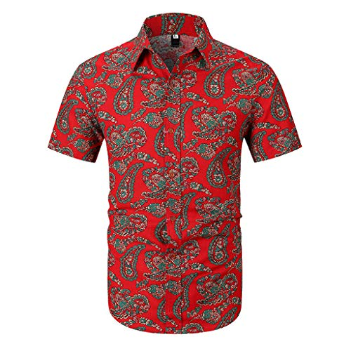 Luckycat Herren weißes Hemd Slim Fit Kurzarm Schwarzes Männer Stretch Kurzarmhemd Freizeithemd Funky Hawaiihemd Herren Kurzarm Fronttasche Herren Hawaii Hemd Kurzarm Rose Party Shirt Palm Beach ()