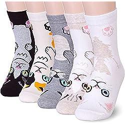 OKIE OKIE Calcetines para mujer con diseño de animales, de algodón, divertidos, casuales, para amantes de la impresión de gatos, regalo de Navidad 4 personajes de gato. talla única