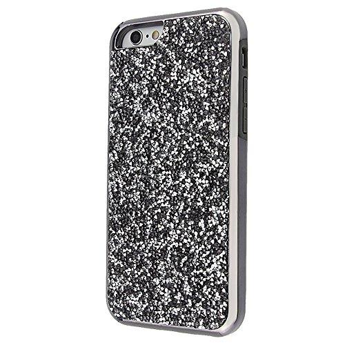 "Soft TPU Silicone Cover pour Apple iPhone 6/6s 4.7"", CLTPY 2in1 Jelly Bling Diamant Série Case avec Plaquage Bord Incurvée Résistant Aux Rayures Couverture pour iPhone 6,iPhone 6s + 1x Stylet - Champa Noir"