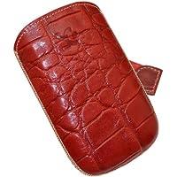 Original Suncase Echt Ledertasche (Lasche mit Rückzugfunktion) für Samsung S5670 Galaxy Fit in croco-rot