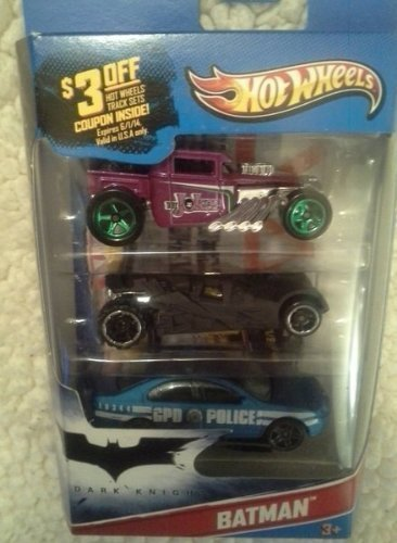 Hot Wheels Batman 3 Pack Cars (Includes Bone Shaker Special The Joker Edition, the Dark Knight Batmobile, and Ford Fusion)