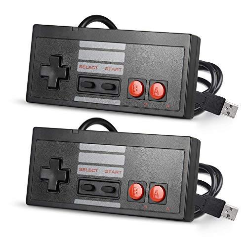 suily USB-Controller, klassischer kabelgebundener PC-Gamepad Joystick für Windows PC Mac Linux RetroPie NES Emulatoren, Schwarz, 2 Stück