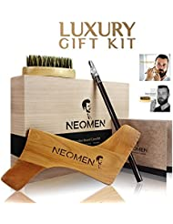 Kit d'entretien pour barbe en bois, patron de stylisation de barbe désigné pour différents styles de barbes, brosse en poils de sanglier et crayon à barbe, aide à obtenir un bouc, une moustache et des contours parfaits; le meilleur cadeau de NEOMEN;
