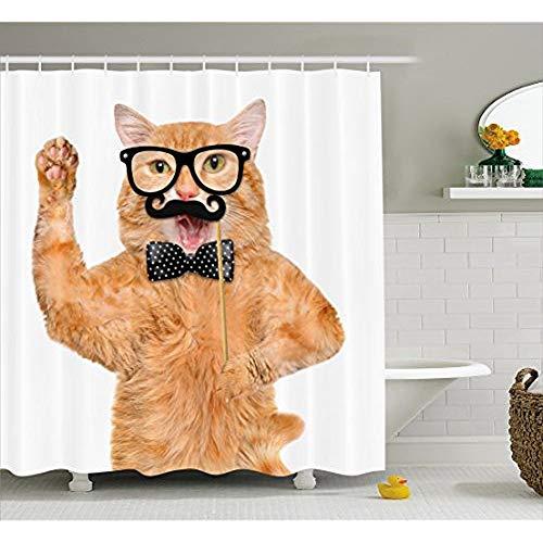 Cute Duschvorhang, Hipster Katze mit Brille Schnurrbart und Bowtie humorvoll Lustig Kitty Tierdruck, Stoff Badezimmer eingerichtet mit Haken, Apricot Schwarz 66