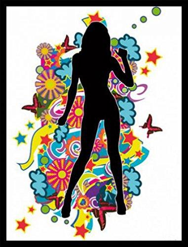 1art1® Mujeres Bonitas Póster Impresión Artística con Marco (Madera DM) Negro - Pop Art Chica II (80 x 60cm)