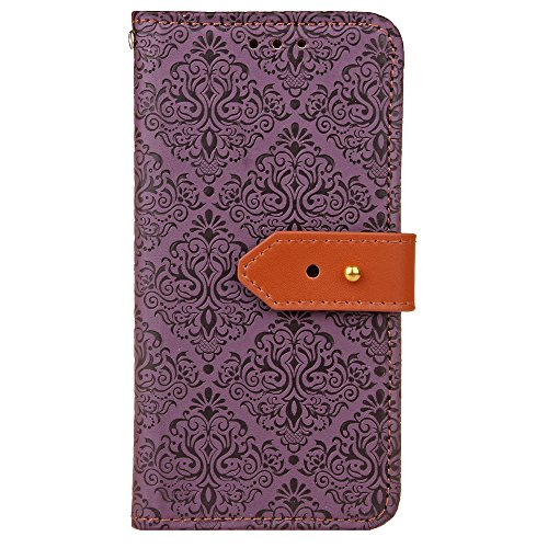 "MOONCASE Coque iPhone 6 Plus Etui Housse AntiChoc PU Cuir Protecteu pour iPhone 6 Plus/iPhone 6s Plus (5.5"") Coque Fonction Support Flip et Les Fentes de Carte de Crédit Case Rose Rouge Violet"
