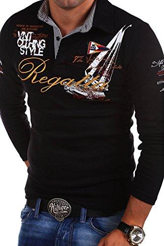 MT Styles - R-0665 - Polo a maniche lunghe REGATTA - Nero - M