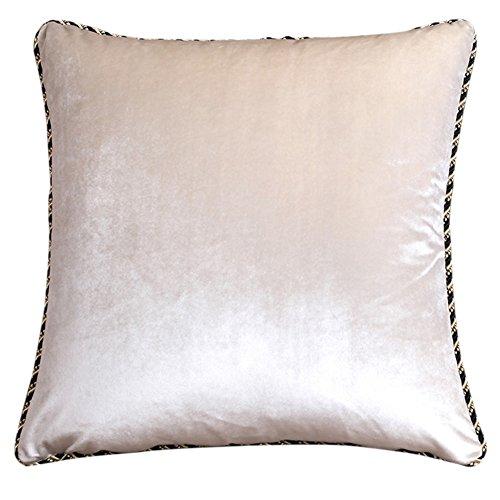 Coussin d'oreiller velours beige simple Uni canapé coussins Velvet couette retour -A 60x60cm(24x24inch)