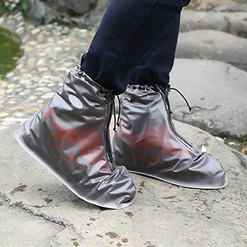 Funda Impermeable de zapatos para, Zantec Impermeable zapatos funda reutilizable lluvia botas de nieve antideslizante resistente al desgaste zapatos cubre para los hombres y las mujeres, café