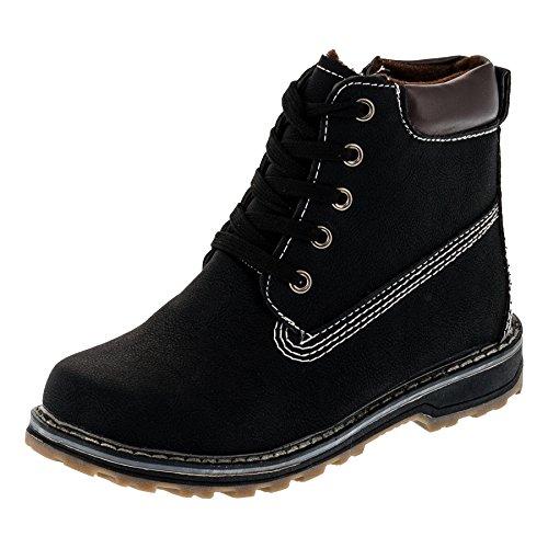 Jungen oder Mädchen Classic Boots in 2 Farben Stiefel mit Reissverschluss #114sw Schwarz