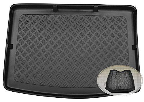 ZentimeX Z3324639 Geriffelte Kofferraumwanne fahrzeugspezifisch + Klett-Organizer (Laderaumwanne, Kofferraummatte)