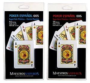 Maestros Naiperos- baraja Poker, español, 50, Cartas, Blister, Calidad Casino Popular, Color Azul y Rojo (130003045)