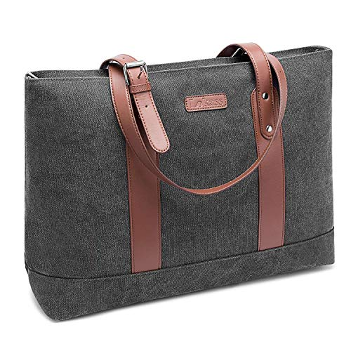 FOSTAK Damen Umhängetasche Aktentasche Messenger Bag Reisetasche stilvoll Shopper tragbar Schultertasche Tote Bag/Business Arbeitstasche Laptoptasche für 15 Zoll Laptop MacBook,Canvas Grau