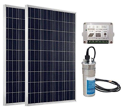 trendsolar solarbetrieben Wasser Pumpe-2x 100W Poly Solar Panel W/24V Deep S/Stahl Wasser gut Pumpe inkl. 15A Solar Controller für Teiche, Bewässerung, Wells, und Pools, 39.3*26.2*1.38in (Boot-lift Motor)