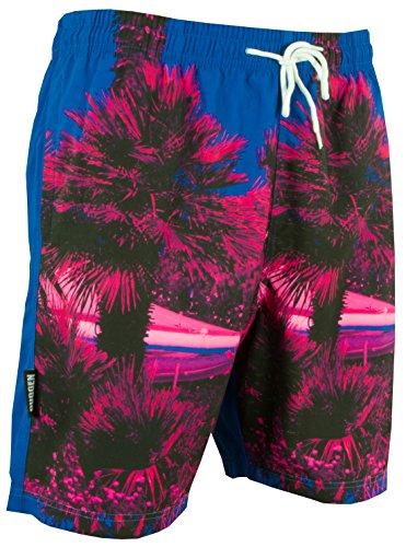 GUGGEN Mountain Herren Badeshorts Beachshorts Boardshorts Badehose Schwimmhose Männer mit Palmen *Print* Rosa Blau XL