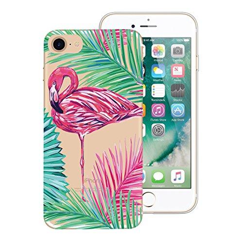 Custodia iPhone 7 Plus, Dexnor 3x Cover Apple iPhone 7 Plus Custodia Silicone Trasparente Oro Rosa Rosso Fiore Fenicottero Modello Morbido Gel Gomma TPU Bumper Slim Case Sottile Antiurto Copertura Pro Carino rosa Fenicottero