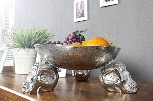 Casa Padrino Designer Obstschale Skull Silber aus Aluminium Höhe 15 cm, Durchmesser 35 cm - Schale, Obstkorb, Deko Schale