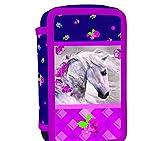 kids4shop Pferd Pony Einhorn Federmappe 3-Fach Dreistöckige Federtasche + Sticker Federmäppchen