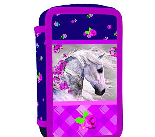 Pferd Pony Einhorn Federmappe 3-Fach Dreistöckige Federtasche + Sticker von kids4shop...