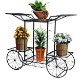 Étagère de Pots de Fleurs Plantes Chariot avec 6 Corbeilles en Métal Fer Forge pour Décoration Maison Balcon Terrasse Jardin Entrée -Dazone®-Noir