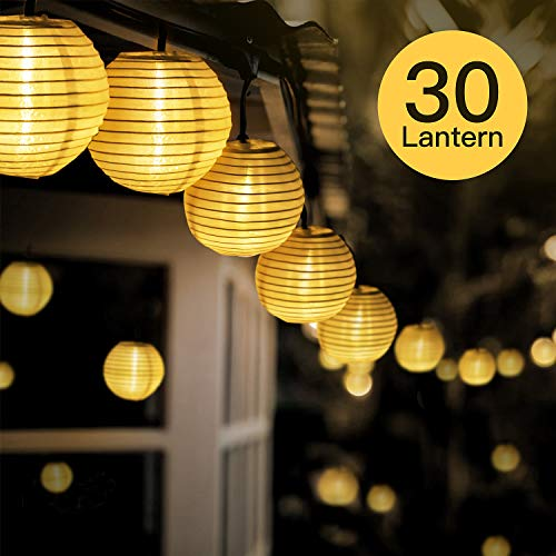 Fylina Warmweiß Solar Lichterkette Lampion65m 30 Led Solar Outdoor