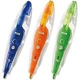 PLUS Japan Roller correcteur PS en forme de crayon 2+1 gratuit bleu/organe/vert 6 m x 4,2 mm