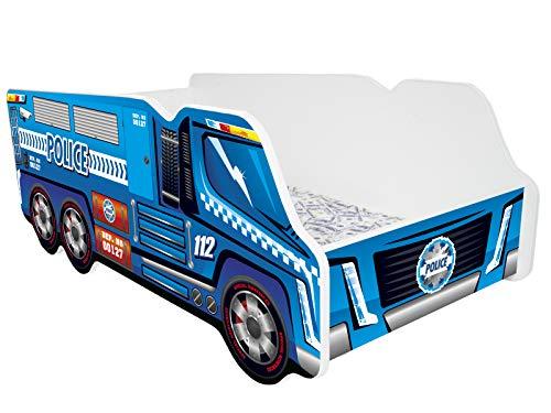 Kleinkinder Kinder Bett inkl. Matratze Auto Truck - POLICE TRUCK (, Kleinkind, Kind, Bett)