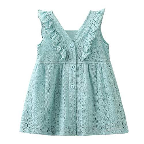 KIMODO Kleinkind Baby Mädchen Kleid Spitze Rüschen Kleider Ärmellos Taste Hohl Prinzessin Sommerkleid Urlaub Outfit Kleidung Drape Applique