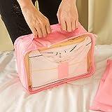 Kleidertaschen-Set 6-teilig IHRKleid® Reisetasche in Koffer Wäschebeutel Schuhbeutel Kosmetik Aufbewahrungstasche Farbwahl (Rot) - 5