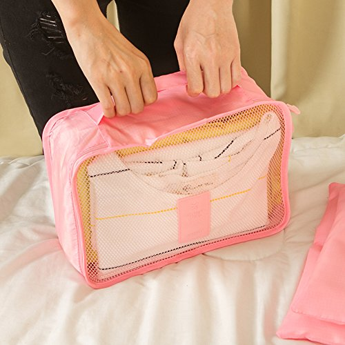 Kleidertaschen-Set 6-teilig IHRKleid® Reisetasche in Koffer Wäschebeutel Schuhbeutel Kosmetik Aufbewahrungstasche Farbwahl (Dunkelblau) Grau