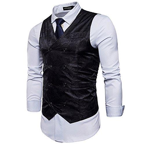 STTLZMC Elegante Herren Weste Formal Paisley Slim Fit Retro Stil Blazer,Schwarz,XXL