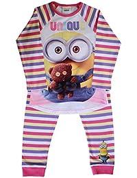 Minions con Licencia Camisa de Pijama Oficial de Conjunto Pijama de algodón con Mangas Completas para niños/niñas/niños