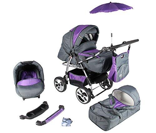 Clamaro 3 in 1 'Rodeo 2016' Kombi Kinderwagen inkl. Babywanne, Sport Buggyaufsatz, Babyschale (ISOFIX) - Luft Bereifung (Chrom) - 4. Graphit / Lila