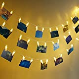 Rovtop 45 LED Photo Clip String Lights, 6M Battery Powered LED Picture Lights for Decoration Hanging Photo, Notes, Artwork (Batteries Included)