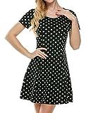 Meaneor Damen Casual Jerseykleid Polka Dots Strandkleid Tailliert Klassisch Kurzarm Knielang Elastisch