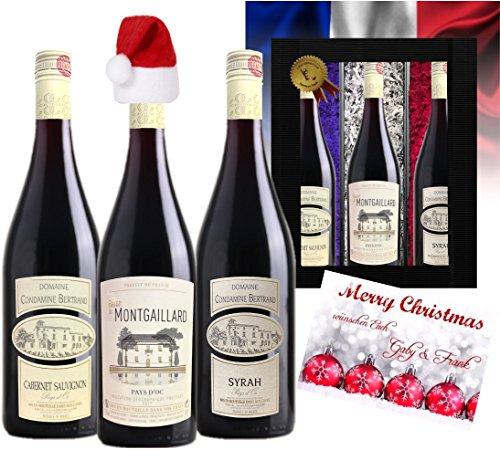 3 Franzosen zu Weihnachten   Weinpräsentbox Christmas   Das Luxusgeschenk zu Weihnachten  ...