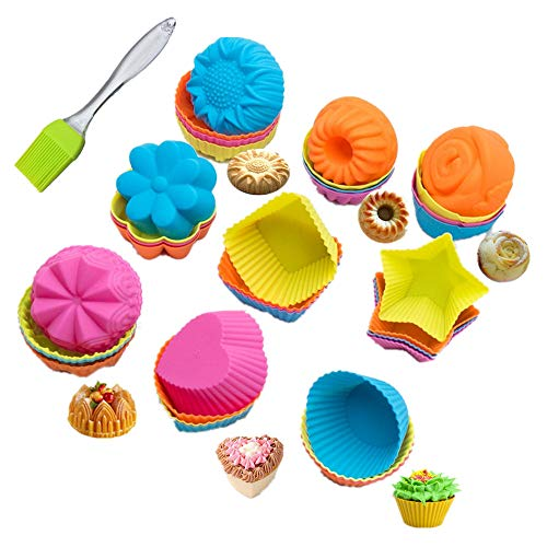 KeepingcooX 36 Pcs Silikonform für Muffins und Kuchenform Muffin-36 multi, Wiederverwendbare Ölbürste als Geschenk