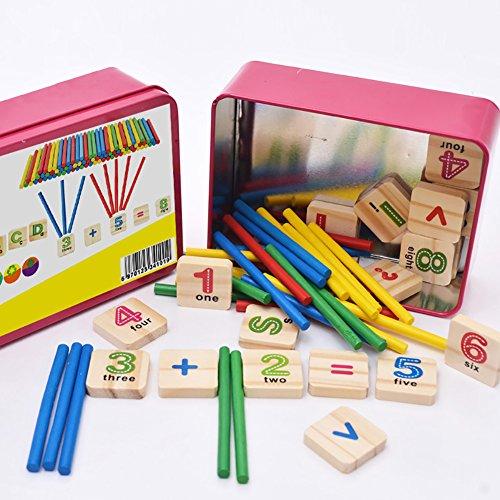 Los niños Ruikey letras de madera Cuenta del número Sticks Tarjetas Matemáticas juguete Teach herramienta de aprendizaje de Ayuda para Niños Educación Infantil con Metal Box