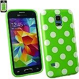 Emartbuy® Samsung Galaxy S5 Mini SM-G800 Polka Dots Gel Hülle Schutzhülle Case Cover Grün / Weiß