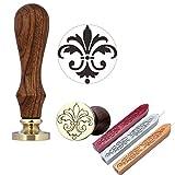 Mogoko 1 Sigillo di legno + 3 Ceralacca SET Francobolli Vintage Kit per Lettera Personalizzata Timbri decorativo IL MIGLIORE REGALO SET - Giglio