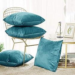Deconovo Housse de Coussin en Velours Super Doux pour Maison Salon Chambre Canapé 45x45 cm Turquoise 4Pcs