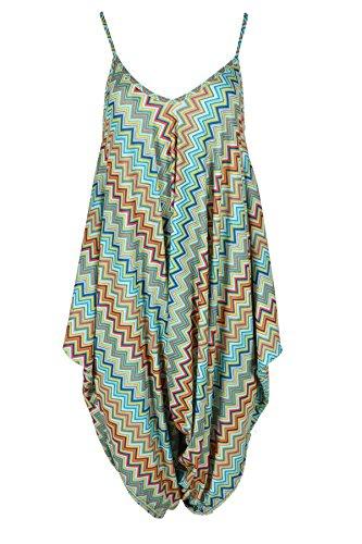 Frauen ärmellos Zickzack Cami Damen Multi -Overall- Kleid Übergröße (Zick-zack-gedruckt Kleid)