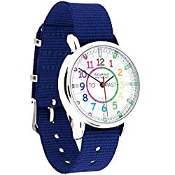 EasyRead Time Teacher Children's Watch, 'Minutes Past' and 'Minutes To', Rainbow Colours / Navy Blue Strap