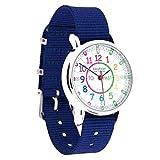 """EasyRead Time Teacher Kinderuhr, Lernen, die Uhrzeit auf Englisch anzugeben mit """"Minutes Past"""" (Minuten nach) und """"Minutes To"""" (Minuten vor) der vollen Stunde, Regenbogenfarben / Blau Armband"""
