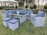 Hohe Dinning Poly Rattan Lounge inkl. einem Sessel und zwei Hocker