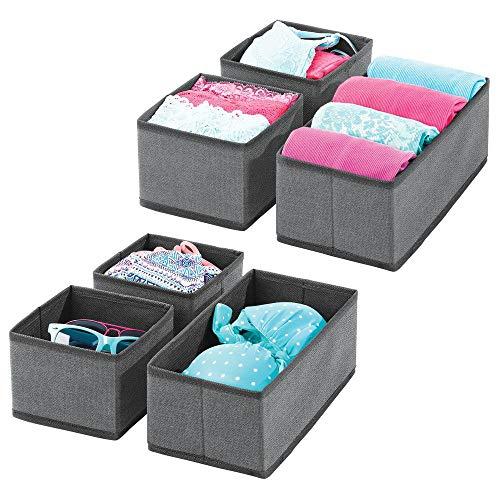 mDesign 6er-Set Aufbewahrungsbox - atmungsaktive Stoffbox für Socken, Unterwäsche, Leggings etc. - vielseitige Schubladen Organizer für Schlaf- und Kinderzimmer - dunkelgrau/schwarz