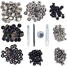 Kit Herramientas Botones de Presión por Kurtzy - 80 Botones a Presión Plata y Bronce - Herramientas Reparar Fijar Metal para Cuero y Mas - Remaches Rápida Liberación Coser Ropa Cierres Presión