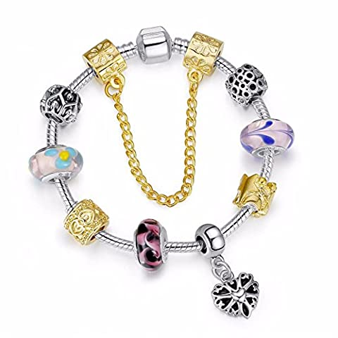 SaySure - 925 Silver Charm Bracelet for Women With Chamilia Glass