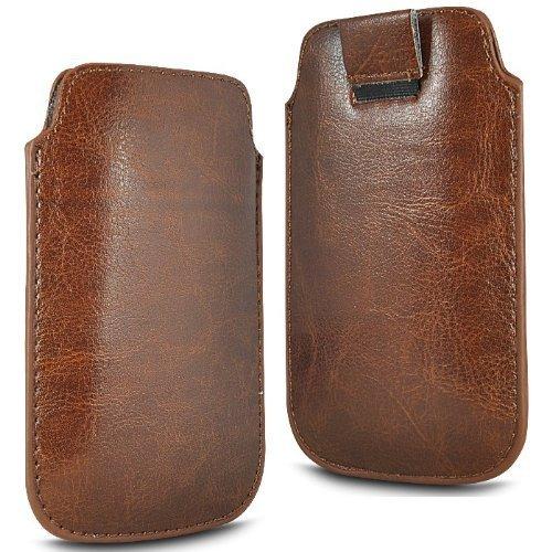 N4U Online®-Samsung Galaxy S5Premium PU Leder ziehen FLiP TAB Schutzhülle Tasche-Braun